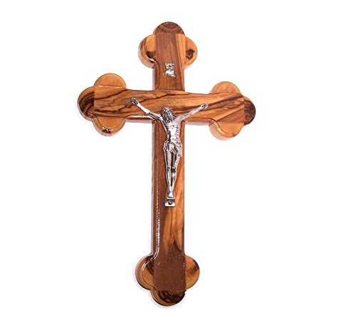 "Holy Land Market Olive Wood Cross The Cross of the Fourteen Stations W/crucifix (7"" h)"