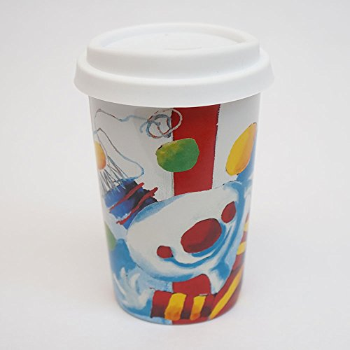 Arts & Happiness Coffee Mug with 12oz and Silicone drinking Lid - Happy Colors on your Porcelain Cup. Suitable for Coffee, Tea, Milk, Cocoa and other hot drinks - 4 ()
