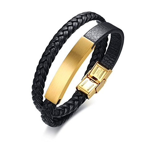 Custom Charm New 9mm (Personalized Engrave Gold Plated Stainless Steel ID Tag Double-layered Wrap Leather Bracelets for Men Boy)