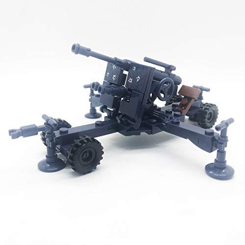 (koolfigure Custom WW2 Military Building Blocks Set, The German Willys Jeep, Mini Bricks Toys (Model B - Blue Artillery))