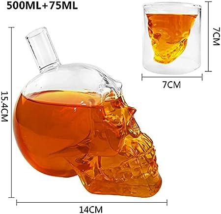 Decantador de cristal de calavera para vino, diseño transparente, botella de cristal de whisky, 1 decantador de vino de 500 ml y 6 vasos de 75 ml