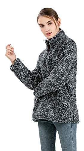 Fleece Pullover 1 Lunga Colletto Sherpa Donna Maglione Allentato Zip 4 Manica Moda Hoodie Nero Stand dgqAEw