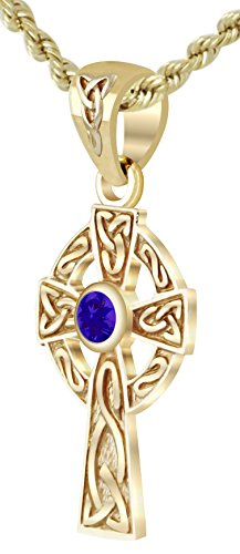 Tanzanite Cross Necklace (New Small Solid 14k Yellow Gold Irish Celtic Cross Synthetic Tanzanite Pendant Necklace)