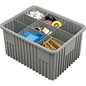 Plastic Dividable Grid Container, 22-1/2''L x 17-1/2''W x 12''H, Gray - Lot of 3