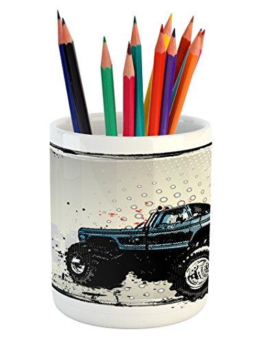 Truck Pencil Pen Holder by Ambesonne, Halftone Pattern Backg