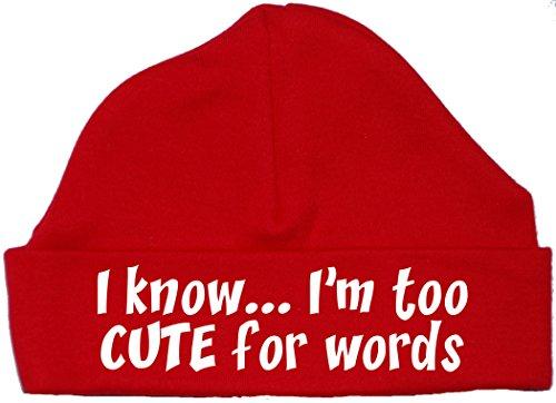 da troppo Sono Baby carino Hat per Hat Bonnet 12 0 a So mesi Red parole E4qxzz