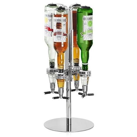 bar@drinkstuff - Rotary 4 Bottle Stand | Rotating Drinks Dispenser, Optics Dispenser for Spirits