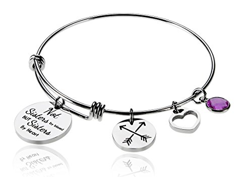 Best Friends Bead (Not Sisters By Blood But Sisters By Heart Charm Birth Month Stone Febuary Best Friend Friendship Bead Expandable Wire Bangle Bracelet For Women Girl Borivilla)