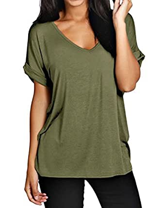 ZANZEA Women's Plus Size Plain Short Sleeve V Neck Loose Fit T Shirt Blouse Tops ArmyGreen US 4-6/ASIAN S