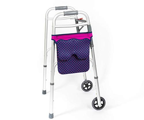 Scoot-About Bag - Hands Free Storage for Walkers, Folding Walkers, Rollators. Water Resistant. (Pink)