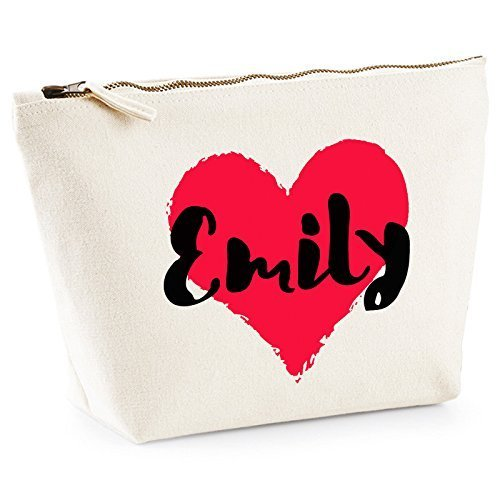 Personalized Heart With Any Name Makeup Bag Wash Travel Make