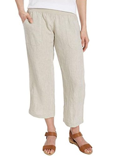Allen Allen USA Women's Cropped Linen Pants Variety. Color Flax Beige (Small)