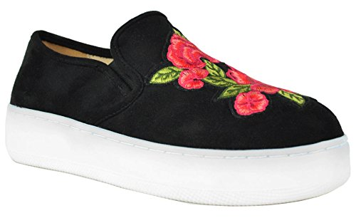 Chase & Chloe Kvinners Brodert Floral Plattform Mote Sneaker Svart Semsket Skinn