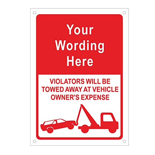 No Signs Personalized Parking (Aspire Custom Rust Free Aluminum Reflective Sign, Reserved Parking [Custom Text] Unauthorized Vehicles Towed Away (with Tow Symbol), 10