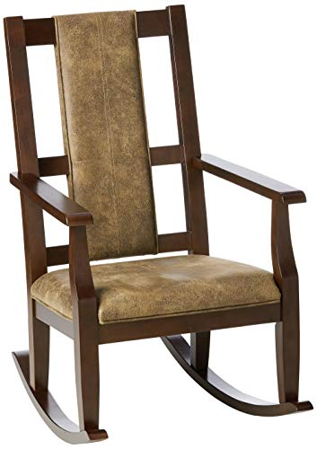 Farmhouse Accent Chairs ACME Butsea Rocking Chair – – Brown Fabric & Espresso farmhouse accent chairs