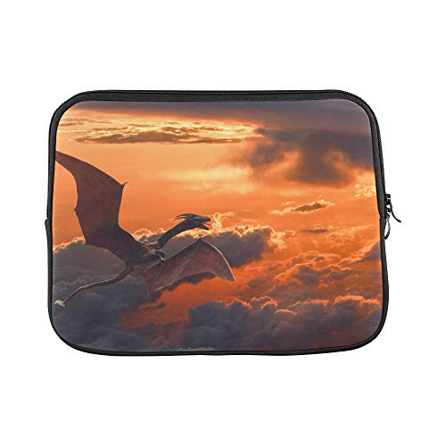 (Design Custom A Dragon Flying Over Orange Sunset Clouds Shutters Sleeve Soft Laptop Case Bag Pouch Skin for MacBook Air 11