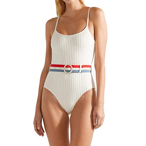 Stripe Swimwear Halter Tummy Control Womens Padded Monokini Swimsuit One Piece Slimming Bathing Suits with Belt (White, M)