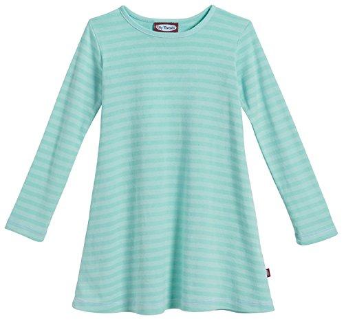 City Threads Big Girls' Cotton Long Sleeve Dress, Striped Wave, -