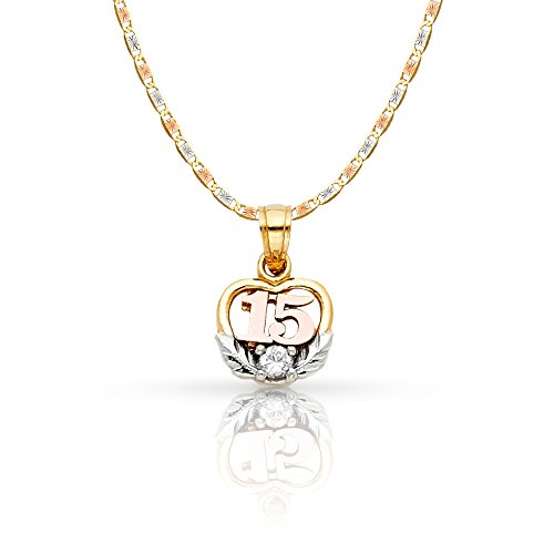 14K Tri Color Gold Sweet 15 Years Quinceanera Heart Cubic Zirconia CZ Charm Pendant with 1.5mm Valentino Chain Necklace - 24