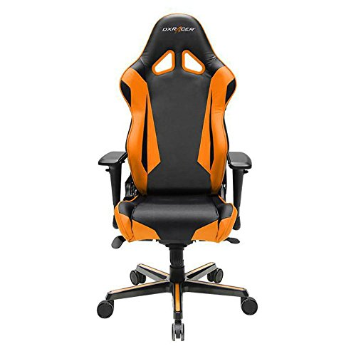 DXRacer OH/RV001/NO Black & Orange Racing Series Gaming Chair Ergonomic High Backrest Office Computer Chair Esports Chair Swivel Tilt and Recline with Headrest and Lumbar Cushion + Warranty DXRACER