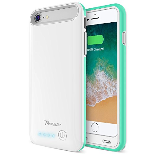 iPhone 8/7 Battery Case, Trianium Atomic Pro 3200mAh Extended Battery Charging Case Compatible with Apple iPhone 7 and iPhone 8 (4.7-inch) [White/Turquoise] Portable Charger Power Pack Juice Bank