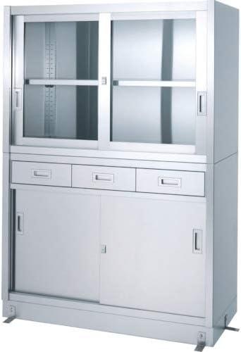 TRUSCO シンコー ステンレス保管庫引出付上部ガラス戸下部ステンレス戸ベース仕様 VDG18060