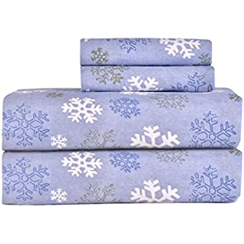 Pointehaven Heavy Weight Printed Flannel 100-Percent Cotton Sheet Set, Snow Flakes, Full