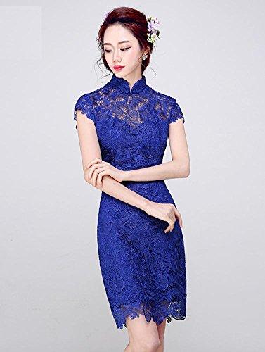 Toast Corta De Slim Cuello Real Encaje Cheongsam Alto Bride Manga Azul emily Beauty 6nxYzz
