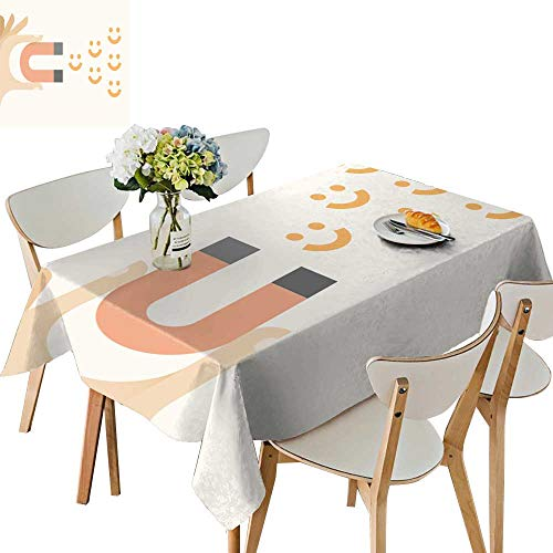 UHOO2018 Square/Rectangle Tablecloth Waterproof Polyester hu Magnet Attract Smiles Happiness avoi Negativity Concept Wedding Birthday Party,50 x 74inch