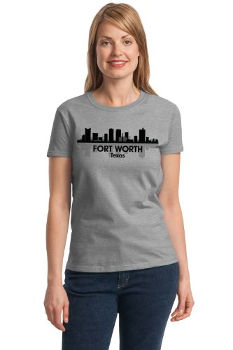 FORT WORTH CITY SKYLINE Ladies' T-shirt / Rangers, Cowboys Fan Tee
