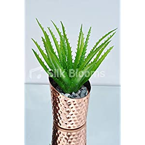 Silk Blooms Ltd Artificial Premium Green Aloe Vera Table Plant w/Bronze Copper Pot 23