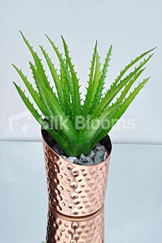 Silk-Blooms-Ltd-Artificial-Premium-Green-Aloe-Vera-Table-Plant-wBronze-Copper-Pot