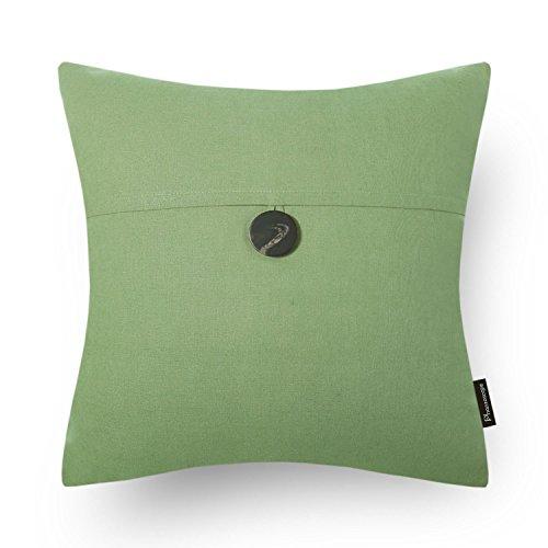 Green Linen Button (Phantoscope Decorative Texture Linen with Button Throw Pillow Covers (Green))