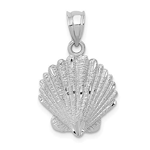 14k White Gold Sea Shell Mermaid Nautical Jewelry Pendant Charm Necklace Shore Man Fine Jewelry Gift For Dad Mens For Him -