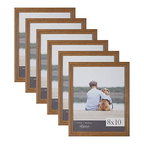 (Life Moments 8x10 Traditional Natural Wood Wall or Tabletop Frames, Set of 6)