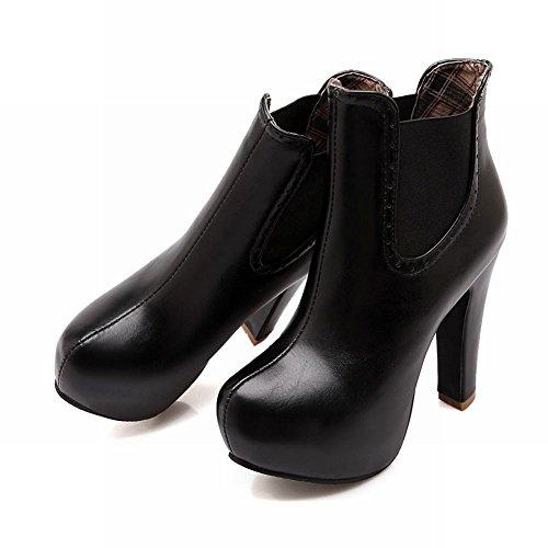 Botas De Vestir De Tacón Alto De Plataforma Sexy De Tacón Alto Para Mujer De Latasa, Botines Chelsea De Color Negro