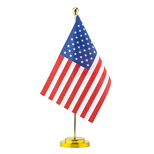 BATTIFE Small US Flag Stand - American USA Desk Flag Metal Base Office Table Use Decoration