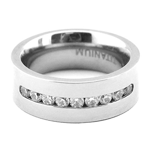 8mm White Titanium Classic Wedding Bands with Brilliant Diamond Inlay for Men High Polish Women