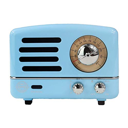 Muzen Portable Wireless High Definition Audio FM Radio & Bluetooth Speaker, Metal Blue, Travel Case Included - Classic Vintage Retro Design