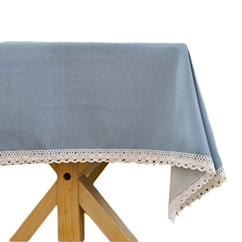 Topmodehome Bright Solid Color Tablecloth RectangularThickened Elegant Lacework for End Table/Dining Table/Writing Desk (55''x55'', lightblue) ()