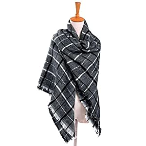 Womens Mens Fall Winter Fashion Scarf Long Shawl Cotton Scarves Print Scarves Baby Bamboo Winter Warm Soft Chunky Large Blanket Wrap Shawl Scarf