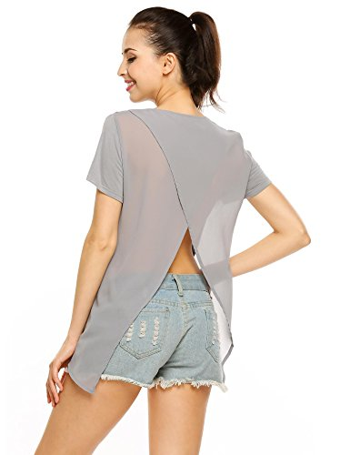 Zeagoo Women Crew Neck Short Sleeve Shirts Patchwork Tunic Shirt Tops(Grey,XL) (Back Top Slit)