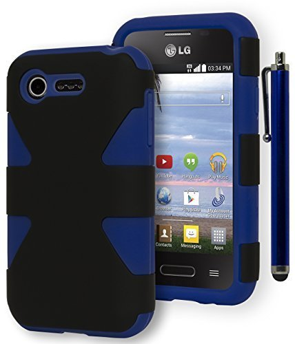Fuel L34C Case, Bastex Heavy Duty Dynamic Protective Case - Soft Blue Silicone Cover with Black Hard Shell Design Case for LG Optimus Fuel L34C [Includes a Stylus] (Lg Optimus Dynamic Phone Cover compare prices)