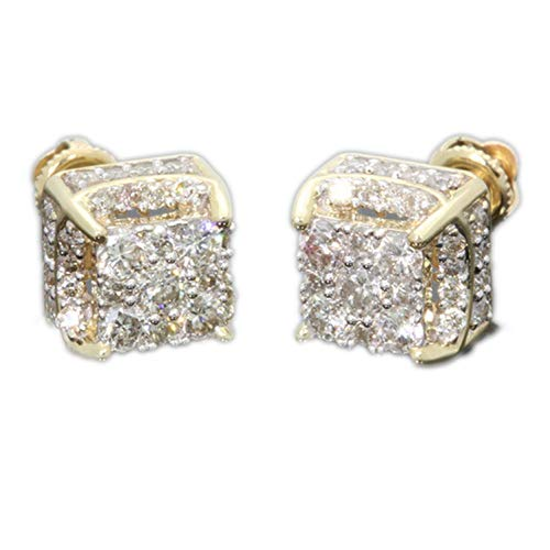 Rhinestone Crystal Stud Earrings Iced Out Square Bling Earring Women Men Hip Hop Jewelry,A2