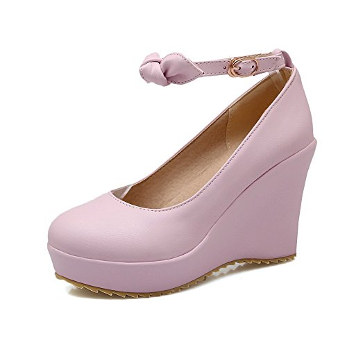 VogueZone009 Women's Soft Material Buckle Round Closed Toe High Heels Solid Pumps-Shoes Purple wSBVQ5Giy