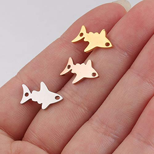 Mirror Polish Stainless Steel Small Baby Shark Charms (20Piece/Lot)