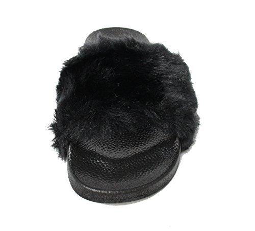 Kali Footwear Women's Flip Flop Faux Fur Soft Slide Flat Slipper Limit(Black, 9)