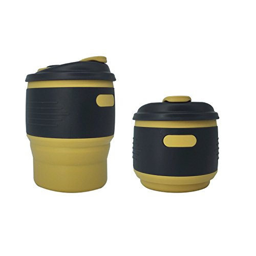 INMKAER Collapsible Coffee Cup with Lid, Portable Medical Grade Silicone Travel Coffee Mug, 12 fl.oz