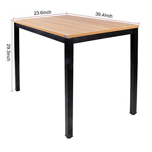 Need Computer Desk- 39 3 8 Length Computer Table for Small Space Writing Desk Gaming Desk Home Office Desk, Teak Color Desktop Black Frame AC3BB-100-60
