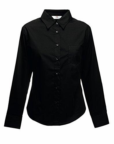 Fruit of the Loom Lady-Fit Long Sleeve Poplin Shirt S Black